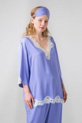 Сиреневый пижамный комплект блуза и брюки с уникальным хлопковым белым кружевом.