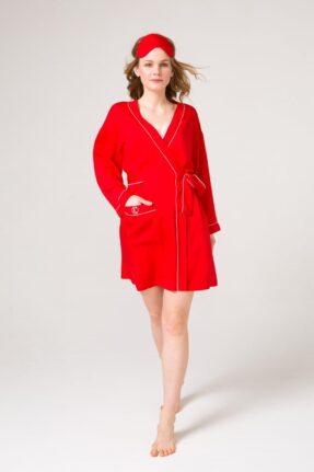 Элегантный классического, свободного кроя красный халат