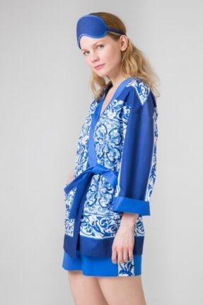 Хлопковое кимоно из ткани с интересным орнаментом Гжель.