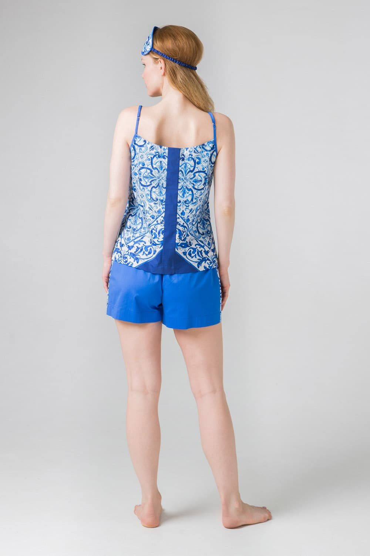 Хлопковый комплект Гжель синий, белый, ультрамарин для дома и отдыха: топ и шорты.