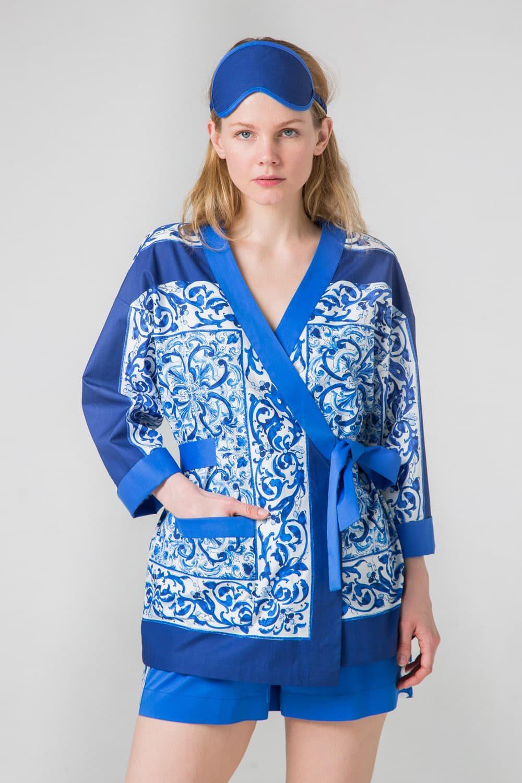 Хлопковый комплект Гжель синий, белый, ультрамарин для дома и отдыха: топ и шорты