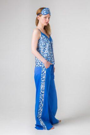Хлопковый комплект Гжель синий, белый, ультрамарин для дома и отдыха: топ и брюки.